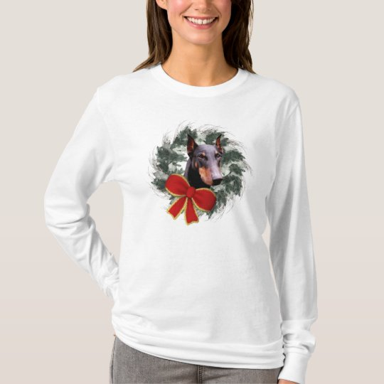 Doberman Dog And Wreath Christmas T-Shirt