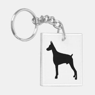 Doberman dog black silhouette, gift key ring