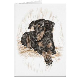 Doberman Dog Natural Ears Card