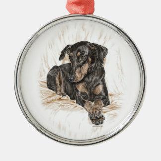 Doberman Dog Natural Ears Christmas Ornament