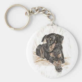 Doberman Dog Natural Ears for Keys Basic Round Button Key Ring