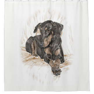 Doberman Dog Natural Ears for Keys Shower Curtain
