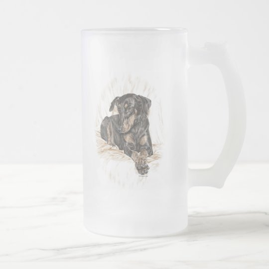 Doberman Dog Natural Ears Frosted Glass Beer Mug