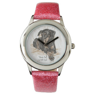 Doberman Dog Natural Ears Watch