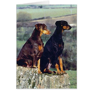Doberman Dog Portrait Blank Greeting Card
