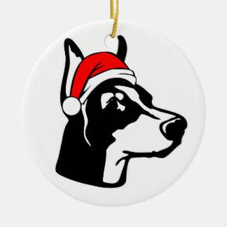Doberman Dog with Christmas Santa Hat Christmas Ornament