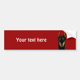 Doberman Head, Black, Cropped Bumper Sticker