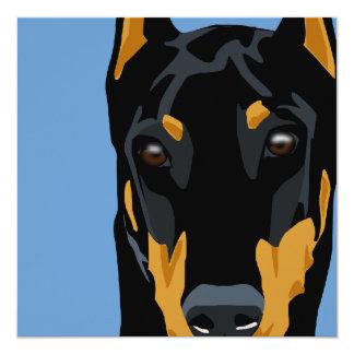 Doberman Head, Black, Cropped 5.25x5.25 Square Paper Invitation Card