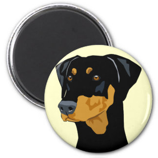 Doberman Head, Black, Uncropped 6 Cm Round Magnet