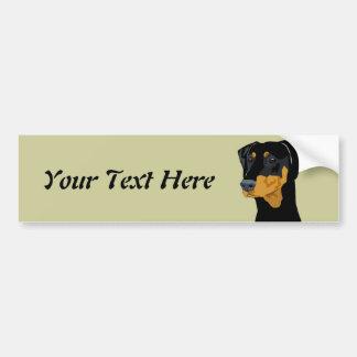Doberman Head, Black, Uncropped Bumper Sticker