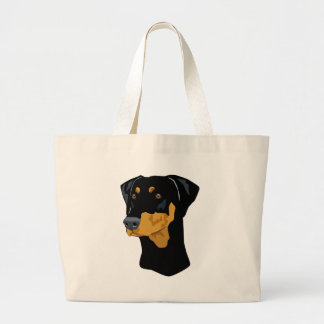 Doberman Head, Black, Uncropped Large Tote Bag