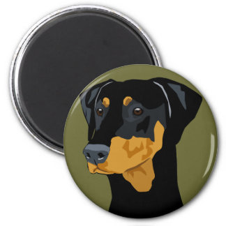 Doberman Head, Black, Uncropped Magnet