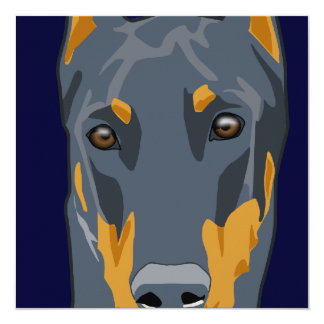 Doberman Head, Blue, Cropped Card