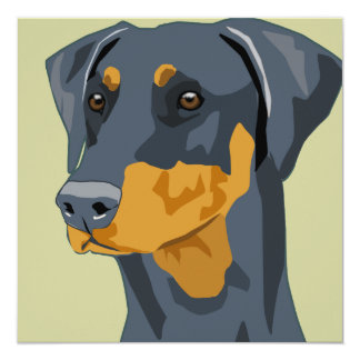 Doberman Head, Blue, Uncropped 13 Cm X 13 Cm Square Invitation Card