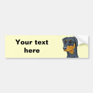 Doberman Head, Blue, Uncropped Bumper Sticker