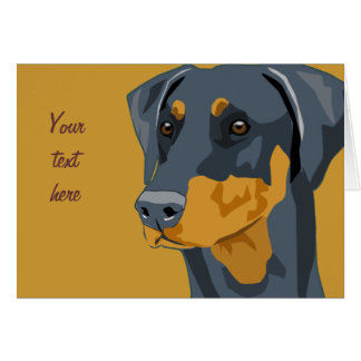Doberman Head, Blue, Uncropped Greeting Card