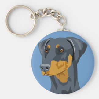 Doberman Head, Blue, Uncropped Key Ring