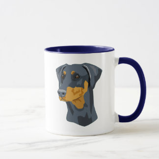 Doberman Head, Blue, Uncropped Mug