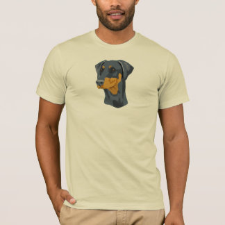 Doberman Head, Blue, Uncropped T-Shirt