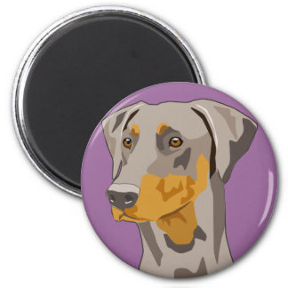Doberman Head, Fawn, Uncropped 6 Cm Round Magnet