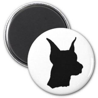 Doberman Head Magnent 6 Cm Round Magnet