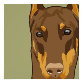 Doberman Head, Red 13 Cm X 13 Cm Square Invitation Card