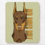 Doberman Head, Red Dobes Rule Mouse Pad