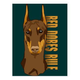 Doberman Head, Red Dobes Rule Postcard