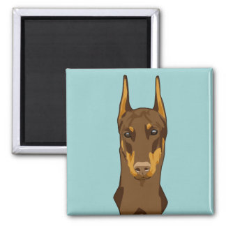 Doberman Head, Red Square Magnet
