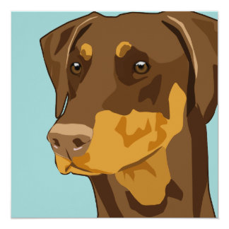 Doberman Head, Red, Uncropped 13 Cm X 13 Cm Square Invitation Card
