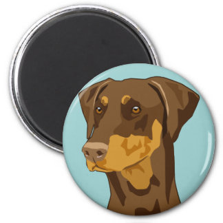 Doberman Head, Red, Uncropped 6 Cm Round Magnet