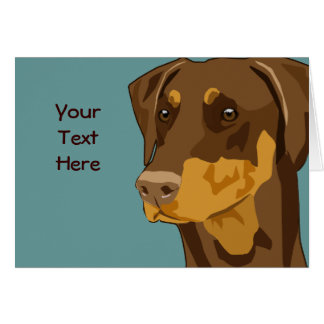 Doberman Head, Red, Uncropped Greeting Card