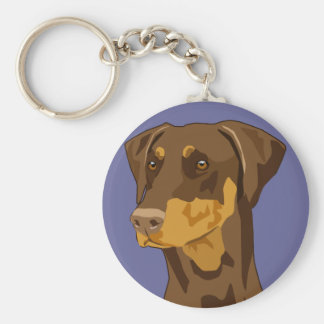 Doberman Head, Red, Uncropped Key Ring