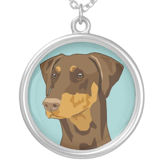 Doberman head, uncropped, red silver plated necklace