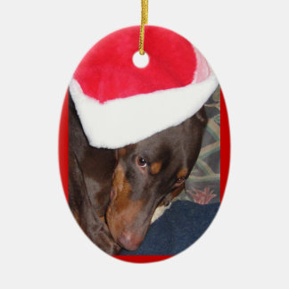 Doberman (Hero) in Santa Hat Christmas Ornament
