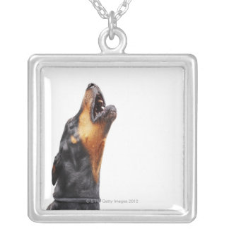 Doberman howling silver plated necklace