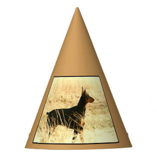 Doberman in Dry Reeds Painting Image Party Hat