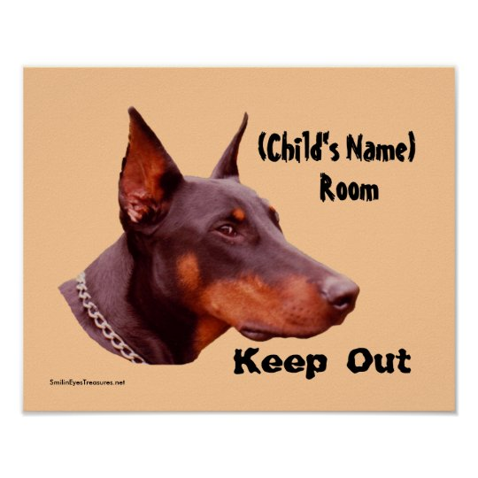 Doberman Keep Out Kids Room Personalised Poster