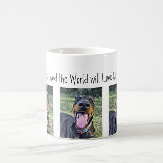 """Doberman """"Love the World"""" Mug"""