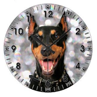 Doberman - Megyan Large Clock