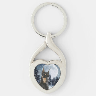 Doberman Mom Keychain Silver-Colored Twisted Heart Key Ring