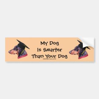 Doberman My Dog Smarter Than Funny Bumper Sticker