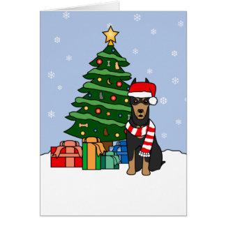 Doberman Pinscher and Christmas Tree Card