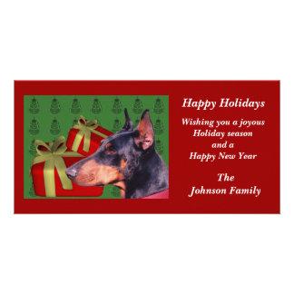 Doberman Pinscher Animal Christmas Holiday Card Custom Photo Card