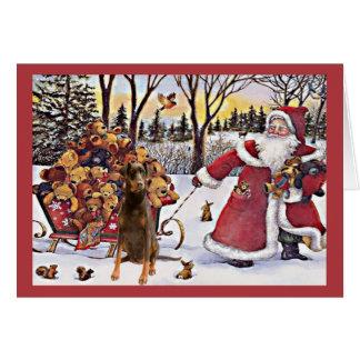 Doberman Pinscher Christmas Card Santa Bears