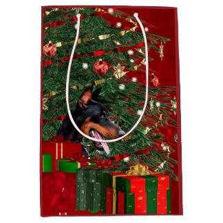 Doberman Pinscher Christmas Medium Gift Bag