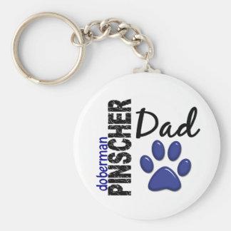 Doberman Pinscher Dad 2 Basic Round Button Key Ring