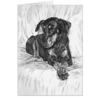 Doberman Pinscher Dog Drawing by Kelli Swan Card