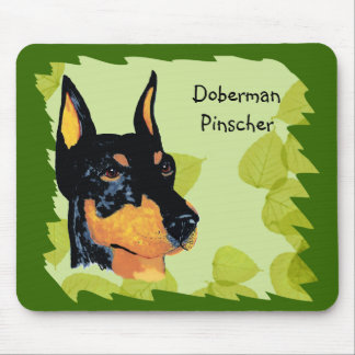Doberman Pinscher ~ Green Leaves Design Mouse Pad