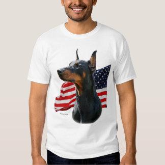 Doberman Pinscher head with Flag T-shirt